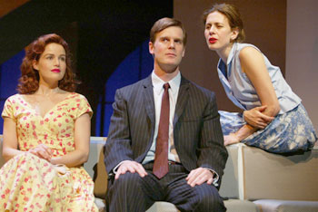 Carla Gugino, Peter Krause, and Jessica Hecht in After the Fall(Photo © Joan Marcus)