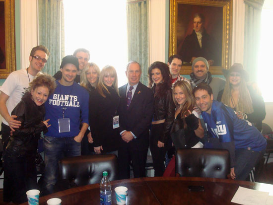 The cast of Rock of Ages with Mayor Michael Bloomberg