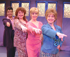 Joy Lynn Matthews, Lynn Eldredge, Sally Ann Swarm,and Megan Thomas in Menopause: The Musical(Photo © Carol Rosegg)