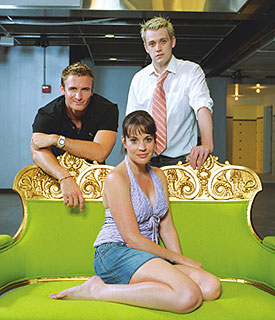 The hot young stars of Bare:John Hill, Michael Arden, and Jenna Leigh Green(Photo © Peter Berberian)