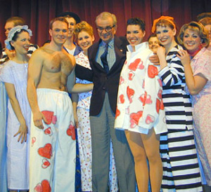 Richard Adler and cast of the 2002Wagner College production of The Pajama Game(Photo © Michael Portantiere)