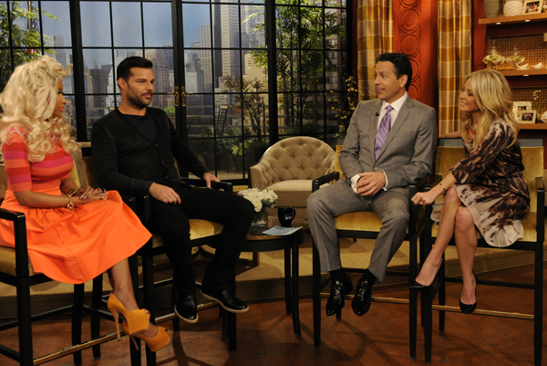 Nicki Minaj, Ricky Martin, Kelly's co-host for the day Tony Potts, and Kelly Ripa