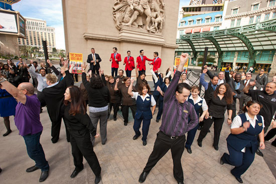 A flash mob outside of Paris Las Vegas