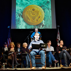 Rory O'Malley and companyin the New York reading of 8