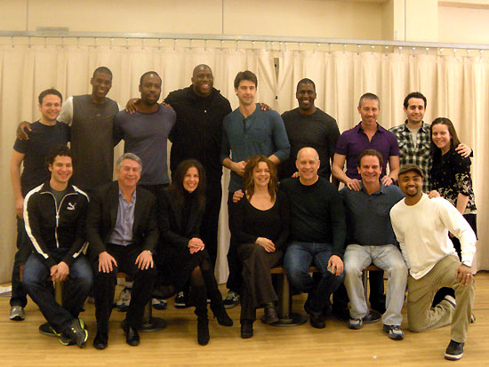 Magic Johnson with the cast of Magic/Bird