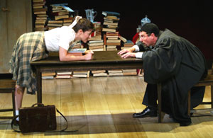 "Maggie Kiley and Steven Skybell in ""The Lesson""(Photo © Carol Rosegg)"
