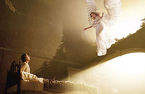 Justin Kirk and Emma Thompson in the HBO miniseries Angels in America