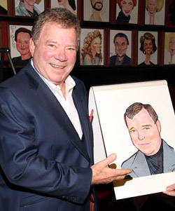 William Shatner with his caricature