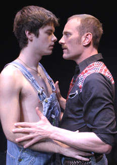Craig Jorczak and David Drake in Farm Boys. (Photo © Richard Termine)