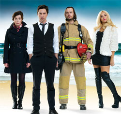 Eve Myles. Zach Braff, Paul Hilton and Susannah Fielding in All New People