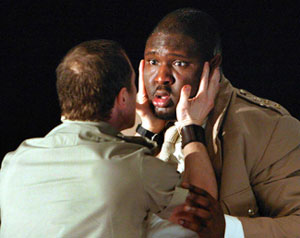 Jonny Phillips (left) and Nonso Anozie in Othello