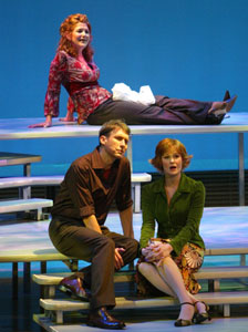 Victoria Clark (on top riser), Gregg Edelman,and Kate Baldwin in Opening Doors