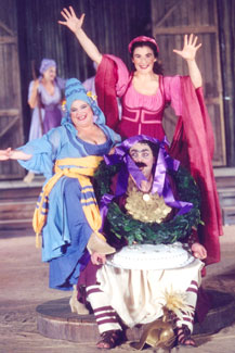 Eleni Kastani, Lydia Koniordou,and Antonis Loudaros in Lysistrata(Photo © Delta Studio)