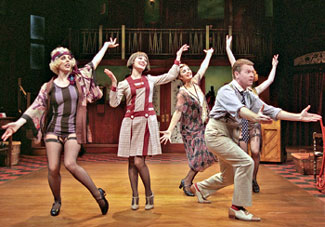 John Scherer, Ruth Gottschall, Holli Hamilton, Elena Passarello,and (partly hidden) Daina Michelle Griffith in Broadway(Photo © Ric Evans)