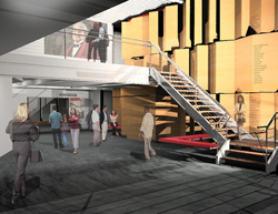 Design renderings for the new lobby at the Long Wharf 