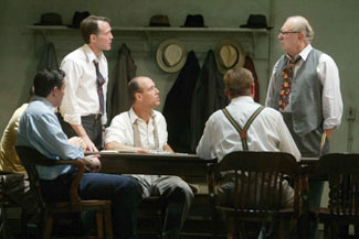 Adam Trese, Boyd Gaines, Kevin Geer, Larry Bryggman,and Philip Bosco in Twelve Angry Men(Photo © Joan Marcus)
