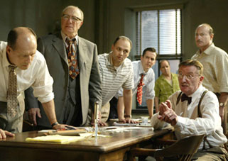 Kevin Geer, Philip Bosco, Michael Mastro, Adam Trese,John Pankow, Peter Friedman, and Larry Bryggmanin Twelve Angry Men(Photo © Joan Marcus)