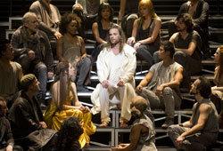 Paul Nolan (center) and company in Jesus Christ Superstar (© Joan Marcus)