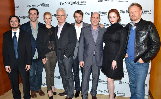 David Itzkoff, Jon Hamm, January Jones, John Slattery, Vincent Kartheiser, Matthew Weiner, Christina Hendricks, and Jared Harris