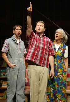 Matthew Broderick (center), Kevin Cahoon,and Frances Sternhagen in The Foreigner(Photo © Joan Marcus)
