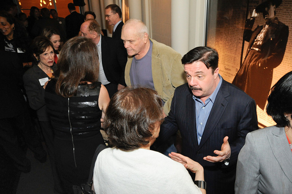 Brian Dennehy and Nathan Lane greet audience members at the Goodman