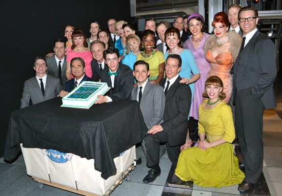 Nick Jonas (center) and the cast of How to Succeed in Business Without Really Trying