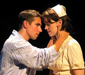 Keith Nobbs with Emily Donahoe in The Hasty Heart(Photo © Josh Bradford)