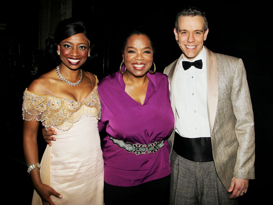 Montego Glover, Oprah Winfrey, and Adam Pascal