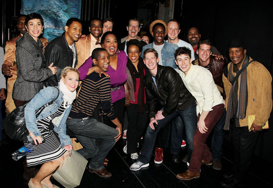Oprah Winfrey with the Broadway cast of Memphis