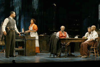 Ruben Santiago-Hudson, LisaGay Hamilton, Anthony Chisholm,Eugene Lee, and John Earl Jelks in Gem of the Ocean(Photo © Carol Rosegg)