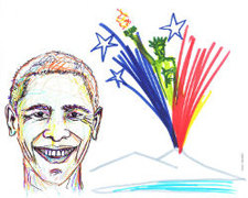 promotional art for Obama in Naples
