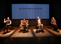 Robbie Collier Sublett, Jennifer R. Morris, Matthew Maher, and Caitlin Miller  in You Better Sit Down... (© Joan Marcus)
