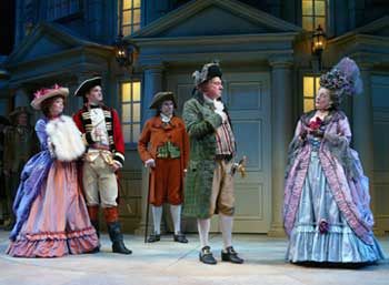 Emily Bergl, Matt Letscher, Richard Easton,Brian Murray, and Dana Ivey in The Rivals(Photo © Joan Marcus)