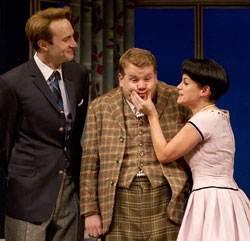 Oliver Chris, James Corden, Jemima Rooper in One Man, Two Guvnors (© Joan Marcus)
