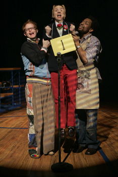 Jesse Tyler Ferguson, Sarah Saltzberg, andDerrick Baskin in The 25th Annual PutnamCounty Spelling Bee(Photo © Joan Marcus)