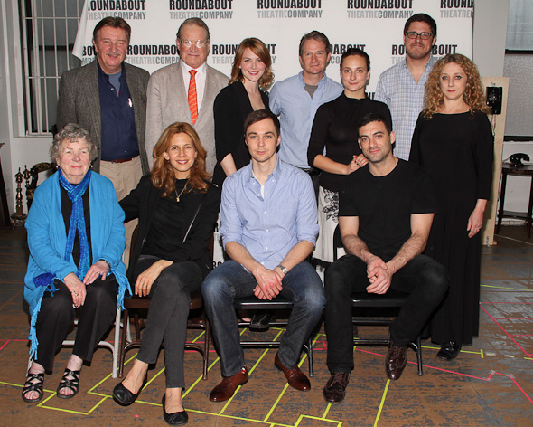 Back: Larry Bryggman, Charles Kinbrough, Holley Fain, Peter Benson, Tracee Chimo, Rich Sommer Front: Angela Paton, Jessica Hecht, Jim Parsons, Morgan Spector (© Tristan Fuge)