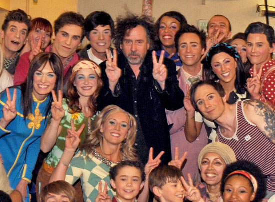 Tim Burton with cast members from Cirque du Soleil's The Beatles LOVE