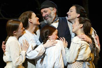 Harvey Fierstein with Betsy Hogg, Sally Murphy, Alison Walla,Laura Shoop, and Tricia Paoluccio in Fiddler on the Roof(Photo © Carol Rosegg)