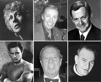 Top row, l-r: Uta Hagen, Jerry Orbach, Tony Randall;Bottom row, l-r: Marlon Brando, Cy Coleman, Fred Ebb