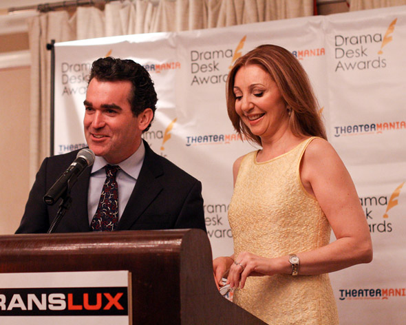 Brian d'Arcy James and Donna Murphy read the nominations for the Drama Desk Awards