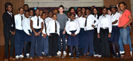 Nick Jonas with students and faculty of MS 61 in Brooklyn