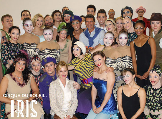 Antonio Banderas and Melanie Griffith with the cast of Cirque du Soleil's Iris