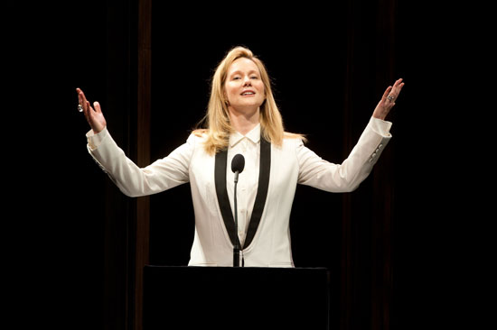 Laura Linney welcomes the audience