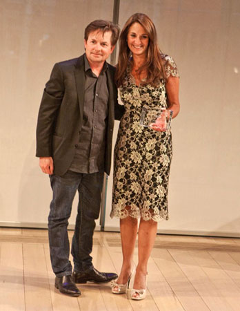Michael J. Fox and honoree Val DiFebo, CEO of Deutsch A Lowe & Partners Company