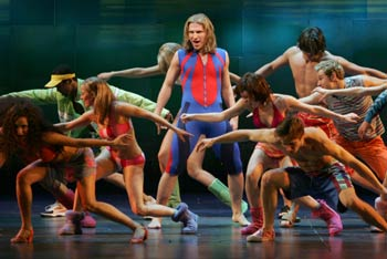 Sebastian Arcelus (center) and the cast of Good Vibrations(Photo &copy; Carol Rosegg)