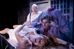 Rachel Avery, George Wendt and Jesse Merlin