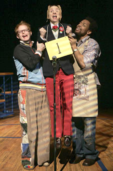 Jesse Tyler Ferguson, Sarah Saltzberg, andDerrick Baskin in The 25th AnnualPutnam County Spelling Bee(Photo © Joan Marcus)