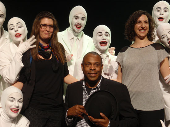Producers Leeorna Solomons (right), Eva Price (left), Michael Winslow and and Voca People