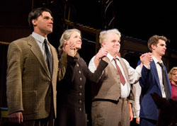 Finn Wittrock, Linda Emond, Philip Seymour Hoffman, and Andrew Garfield at the curtain call for Death of a Salesman