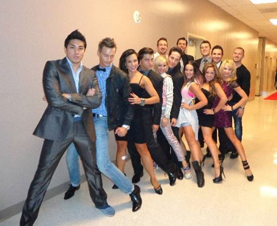 Cast members from Jersey Boys and Dancing with the Stars: Live in Las Vegas backstage at Paris Las Vegas